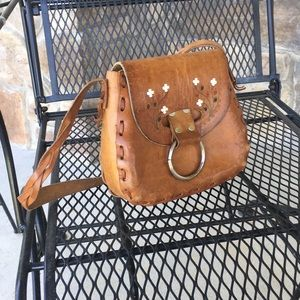 Handbags - Adorable leather tooled purse with flowers & cross